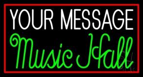 Custom Green Music Hall Red Border Neon Sign