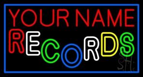 Custom Multicolor Double Stroke Records Blue Border Neon Sign