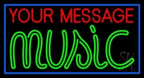 Custom Music Green Border Blue Neon Sign