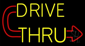 Red Drive Thru With Curved Arrow LED Neon Sign