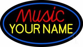 Custom Music Red Border Blue LED Neon Sign