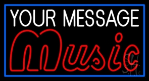 Custom Music Red Border Blue Neon Sign