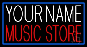 Custom Music Store Red Border Blue Neon Sign