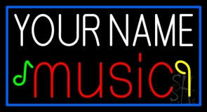 Custom Music With Notes Blue Border Neon Sign
