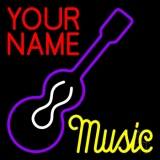 Custom Music Yellow Guitar Purple Neon Sign