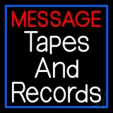 Custom Records And Tapes Blue Border Neon Sign