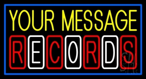Custom Records Block Blue Border 2 Neon Sign