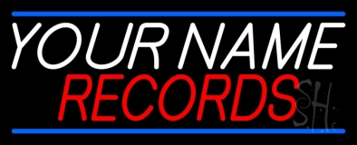 Custom Records Block Blue Line Neon Sign