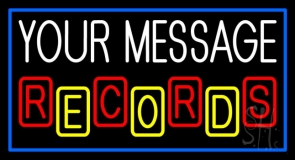 Custom Records Block Border Blue 2 Neon Sign