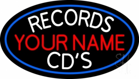 Custom Records Cds White Border Blue Neon Sign