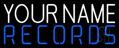 Custom Records In Blue Neon Sign