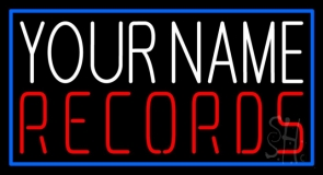 Custom Records In Red Blue Border Neon Sign