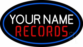 Custom Records In Red Neon Sign