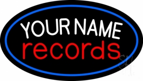Custom Records Red Border Blue 1 Neon Sign