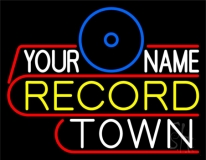 Custom Record Town Blue Logo LED Neon Sign