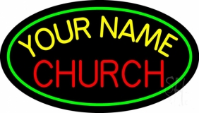 Custom Red Church Green Border Neon Sign