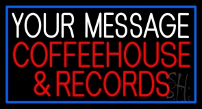 Custom Red Coffee House And Records Blue Border Neon Sign