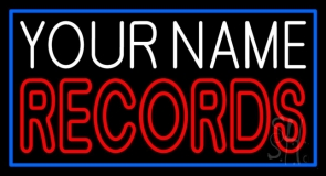 Custom Red Double Stroke Records Blue Border Neon Sign