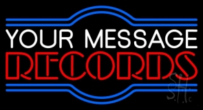 Custom Red Double Stroke Records Neon Sign