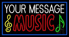Custom Red Music Blue Border Neon Sign