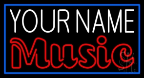 Custom Red Music Blue Border Neon Sign