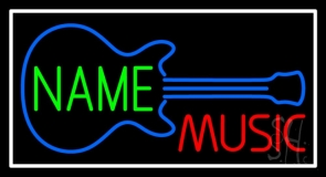 Custom Red Music Blue Guitar White Border Neon Sign
