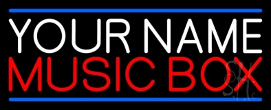 Custom Red Music Box Blue Line Neon Sign