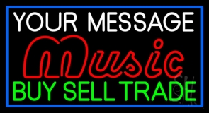 Custom Red Music Green Buy Sell Trade Blue Border Neon Sign