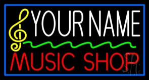 Custom Red Music Shop Yellow Note Blue Border Neon Sign