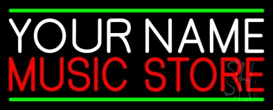 Custom Red Music Store Green Line Neon Sign