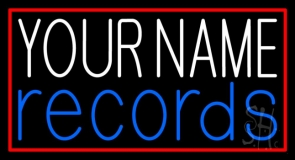 Custom Red Records Red Border 1 Neon Sign