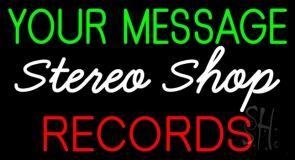 Custom Red Records White Stereo Shop Neon Sign