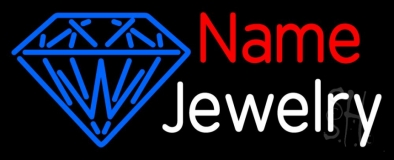 Custom White Jewelry Blue Logo Neon Sign