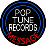 Custom White Pop Tunes Records Neon Sign