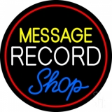 Custom White Record Blue Shop Red Border Neon Sign