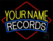 Custom White Records 3 Neon Sign