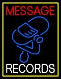Custom White Records Block Blue Logo Yellow Border Neon Sign