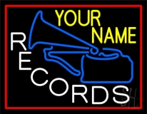 Custom White Records Block With Blue Logo Neon Sign