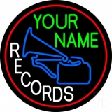 Custom White Records Block With Logo Red Border Neon Sign