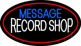 Custom White Record Shop Red Border Neon Sign