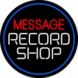 Custom White Record Shop With Blue Border Neon Sign