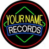 Custom White Records Red Border Neon Sign