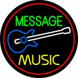 Custom Yellow Music Blue Guitar Red Border Neon Sign