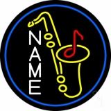 Custom Yellow Saxophone Blue Border 1 Neon Sign