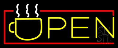 Yellow Tea Open With Red Border Neon Sign