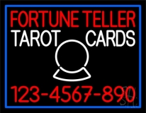 Fortune Teller Tarot Cards With Phone Number Blue Border Neon Sign