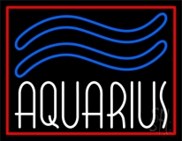 Green Aquarius White Border Neon Sign