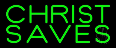 Green Christ Saves Neon Sign