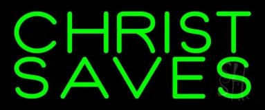 Green Christ Saves LED Neon Sign