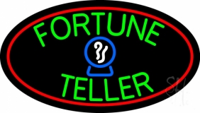 Green Fortune Teller Red Oval Neon Sign